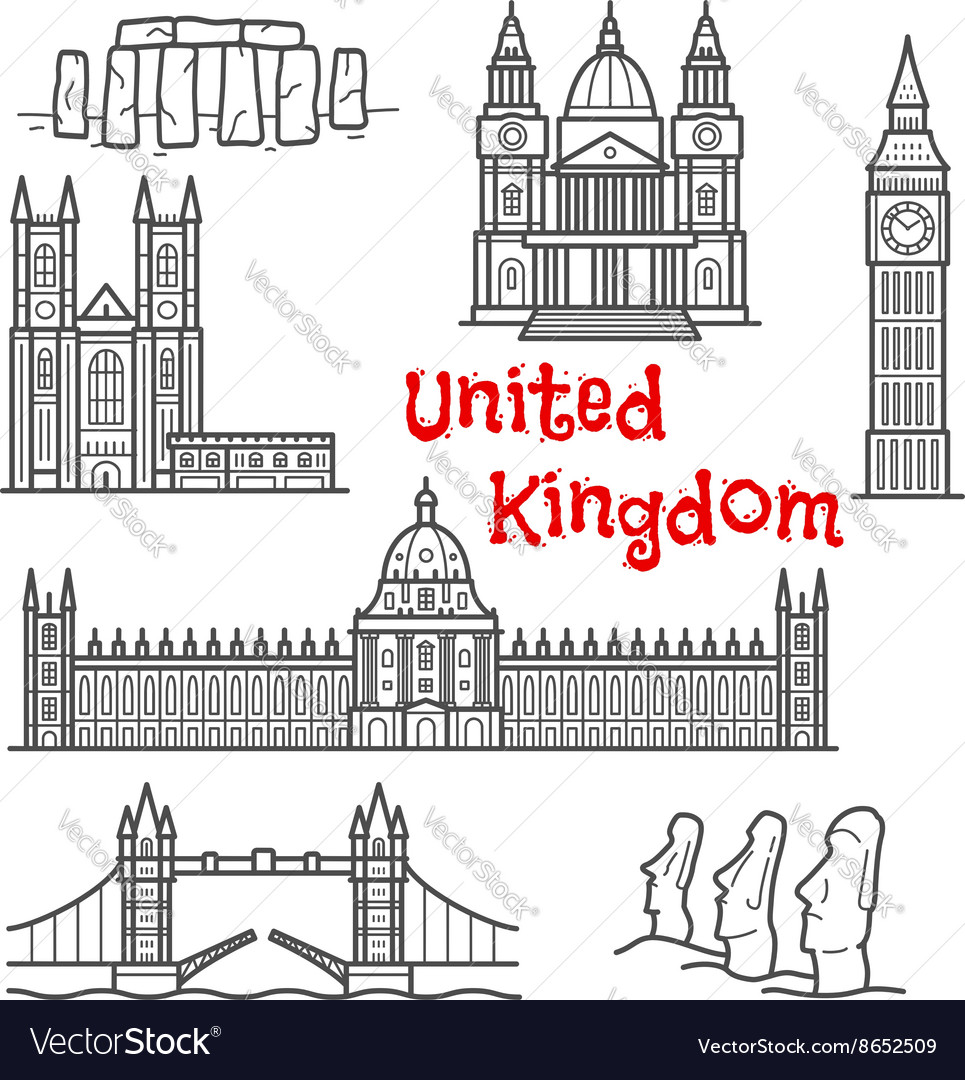 British and chilean travel landmarks sketches vector image