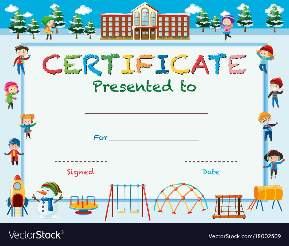 Certificate template with kids in winter at school Throughout Free School Certificate Templates