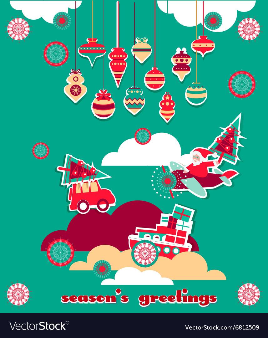 Christmas greeting scrap elements set