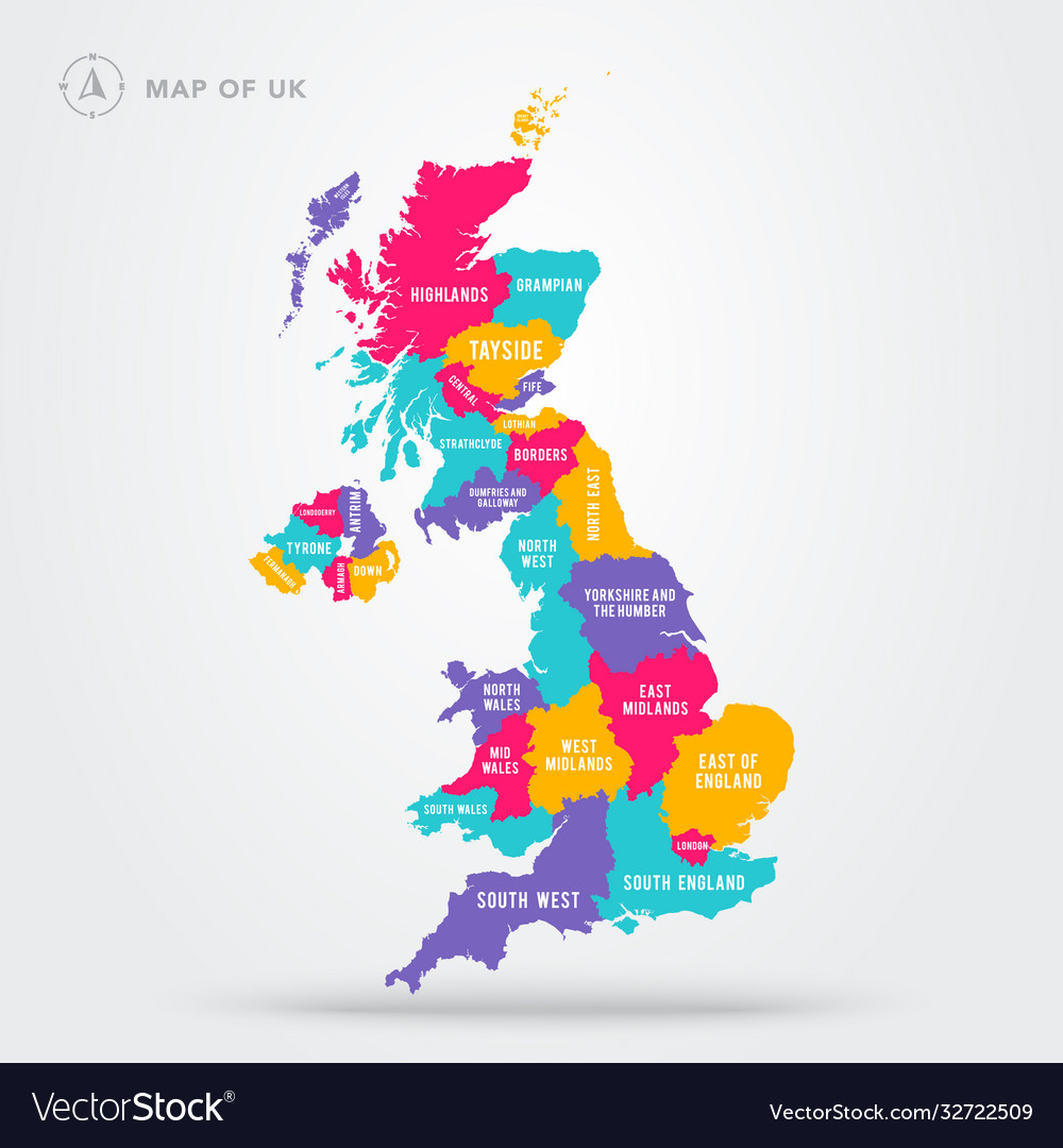 Colorful map uk united kingdom with regions