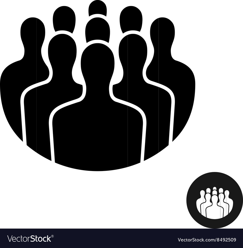 Crowd of people black silhouette icon Social