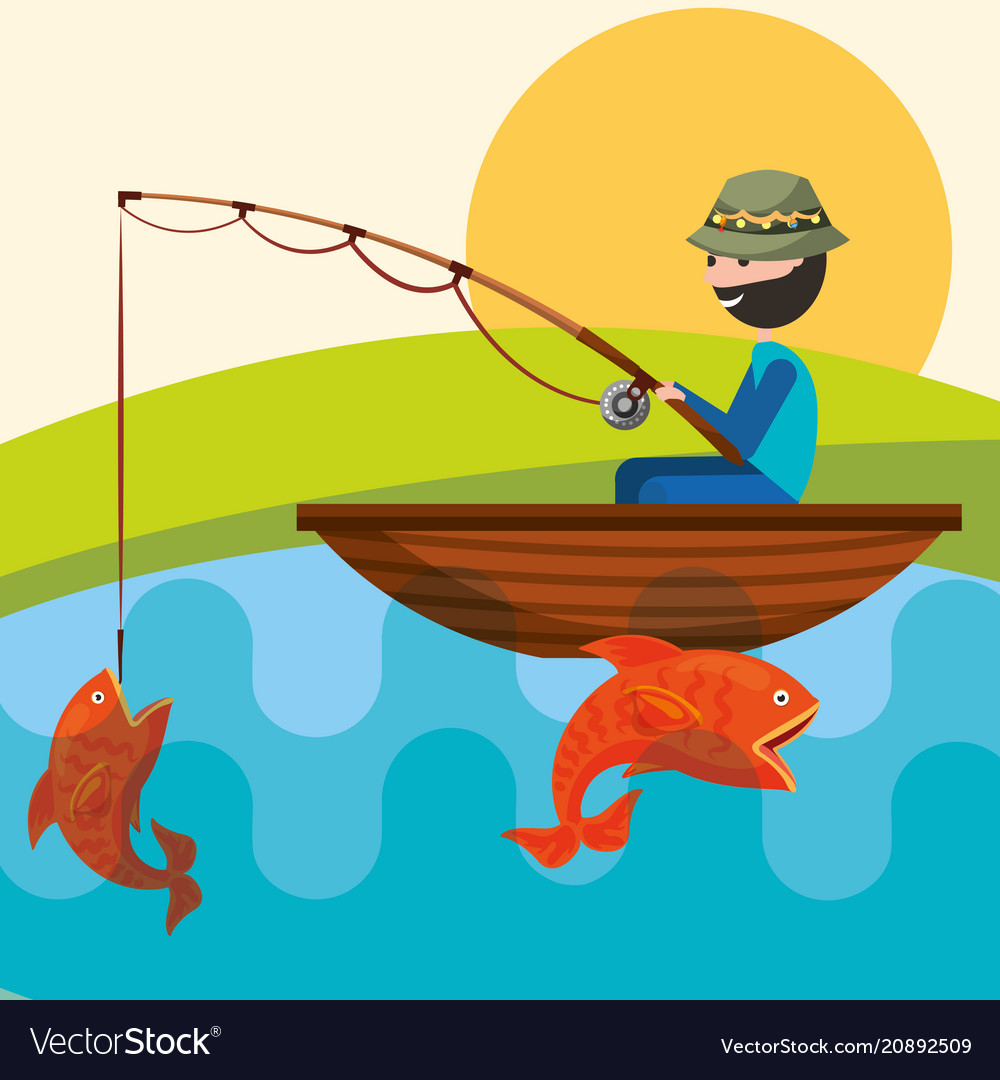 Fishing People Cartoon Royalty Free Vector Image