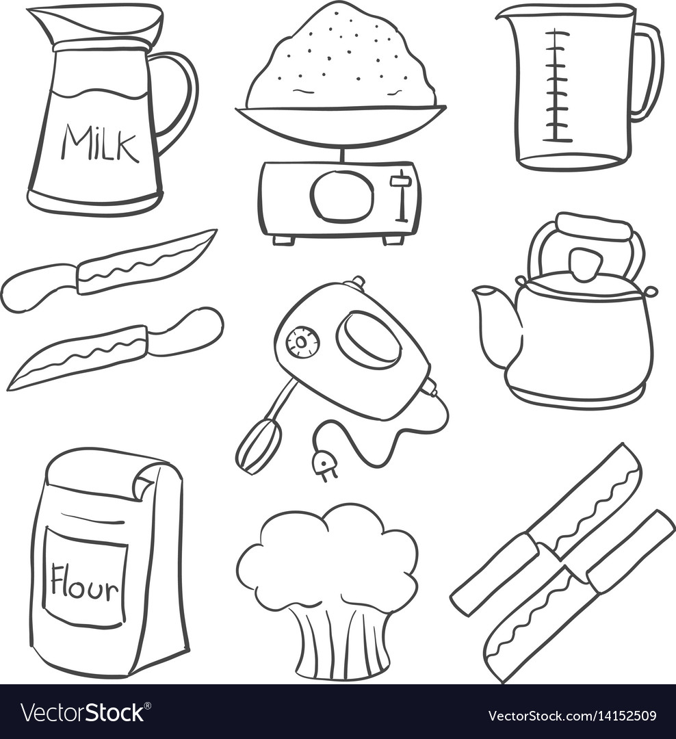 Kitchen Set Hand Draw Doodle Style Royalty Free Vector Image