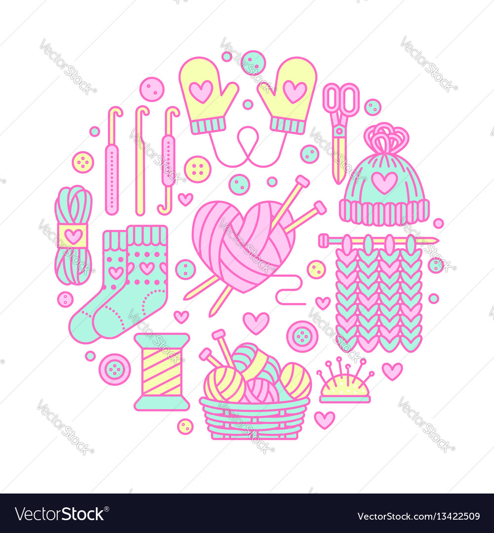 Knitting Crochet Hand Made Banner Royalty Free Vector Image Patterns With Diagram