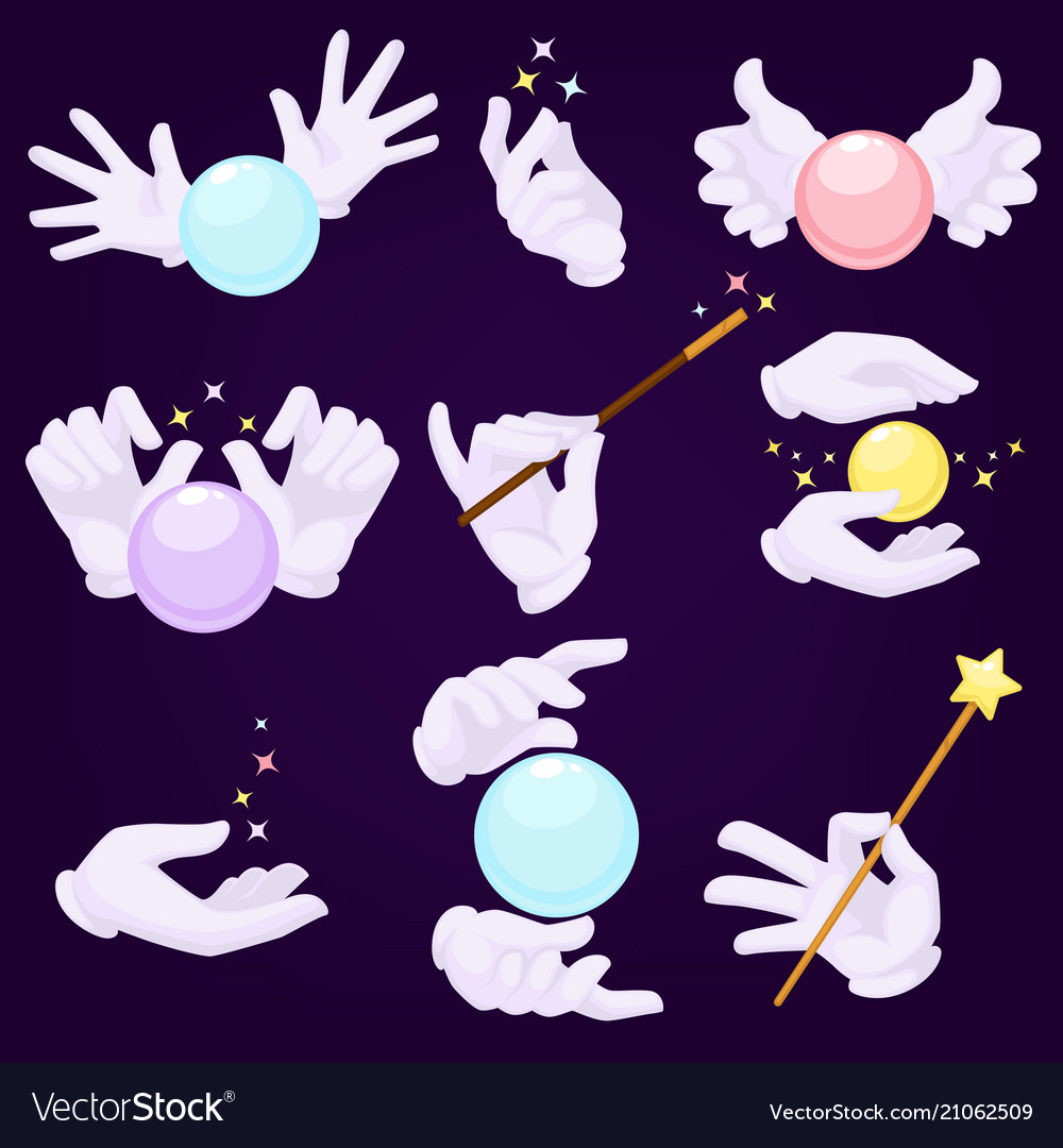 Magicians hands in white gloves with magic ball