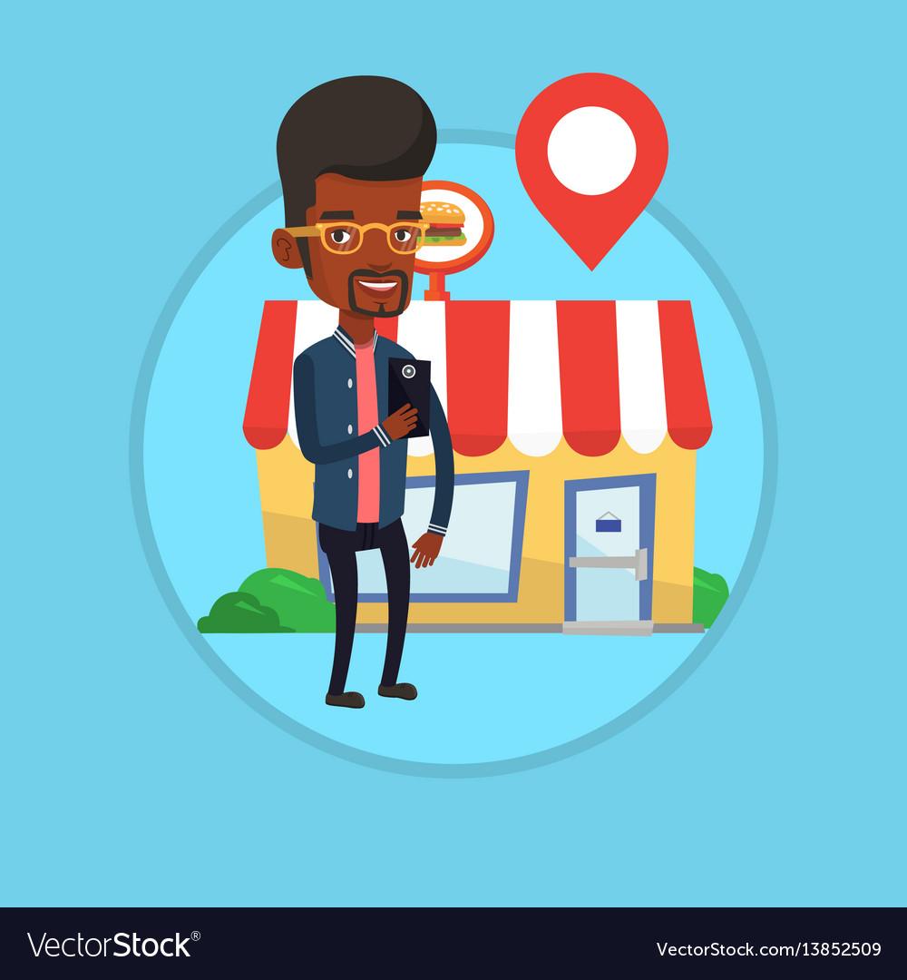 Man looking for restaurant in her smartphone