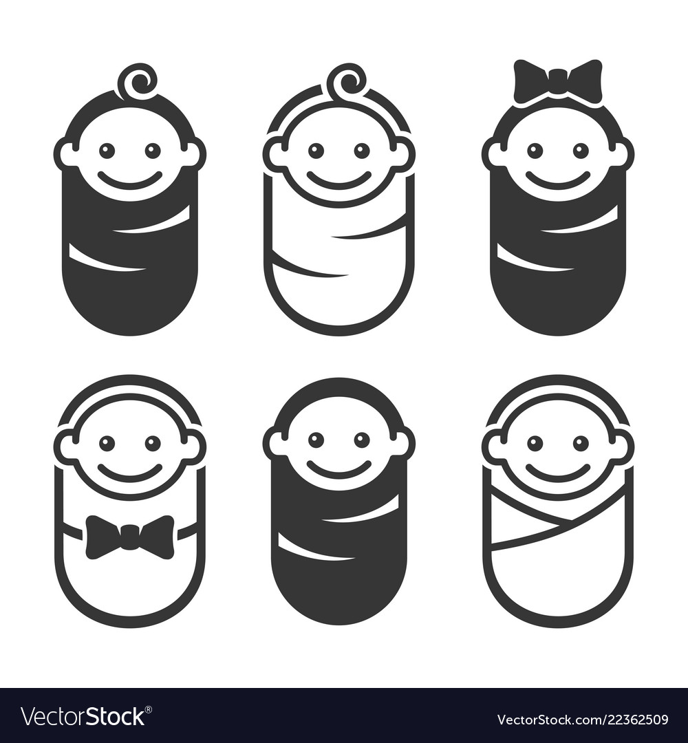 Newborn baby icon pictogram set on white