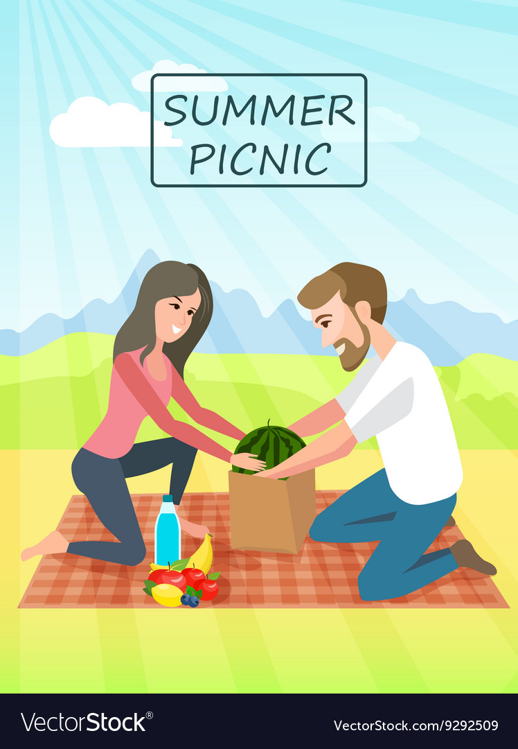 Picnic Couple relaxing picnic on nature Vacation