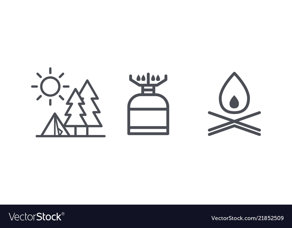 Recreation and camping icons outdoor activity and