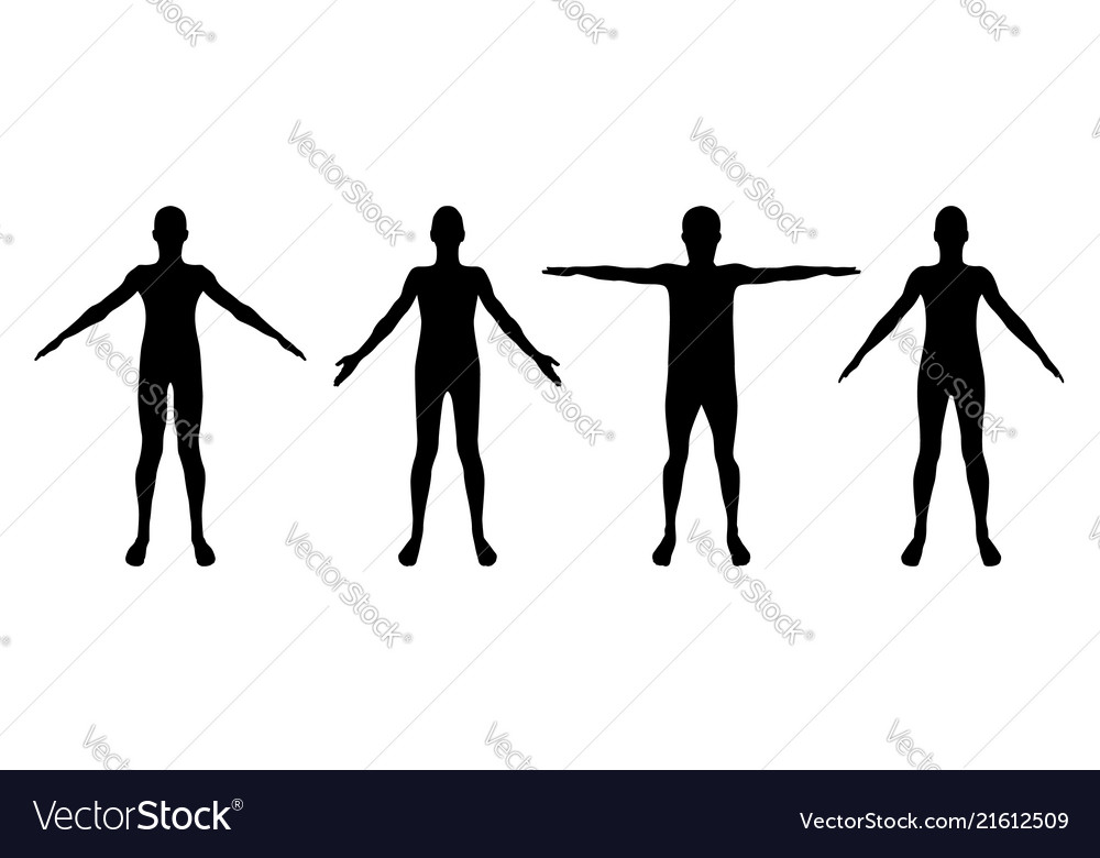 Set of standing man or woman silhouettes isolated