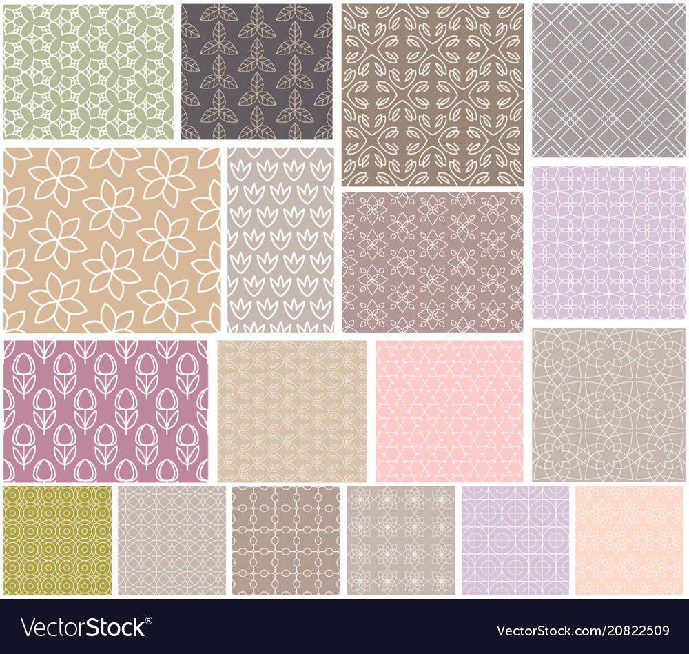 Set seamless patterns with flowers natural