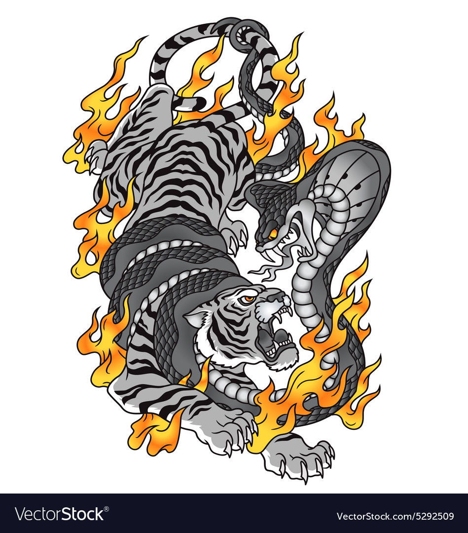 Tiger with cobra and fire tattoo graphic