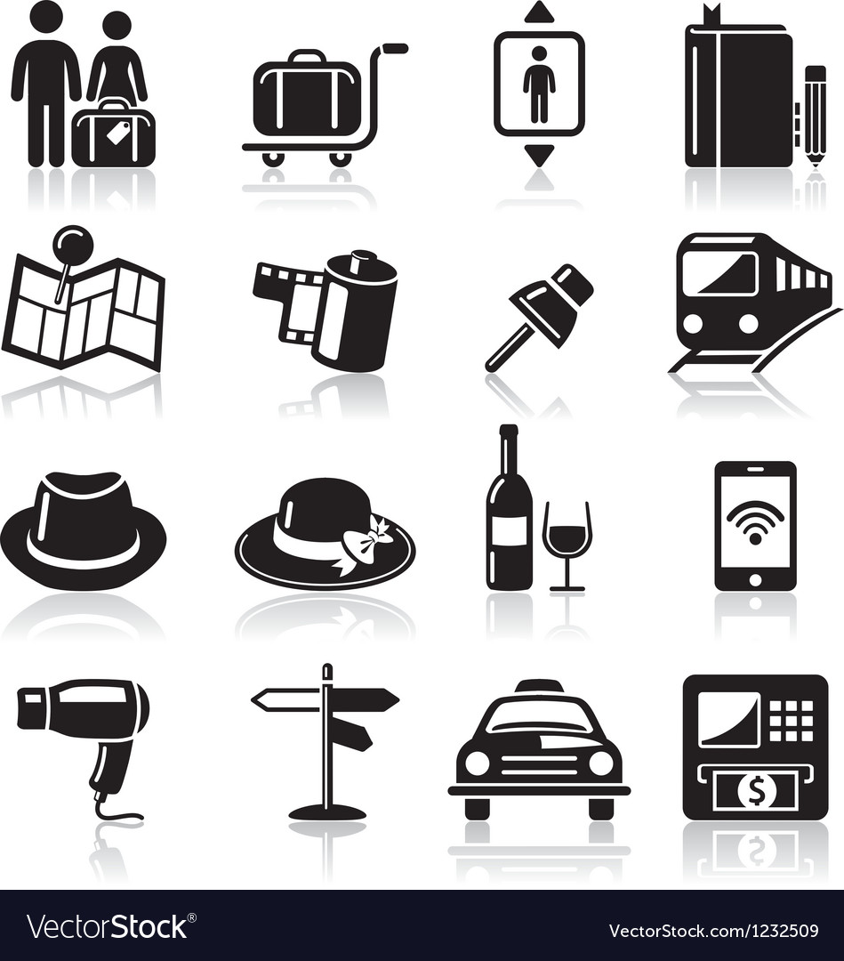 Travel black icons set