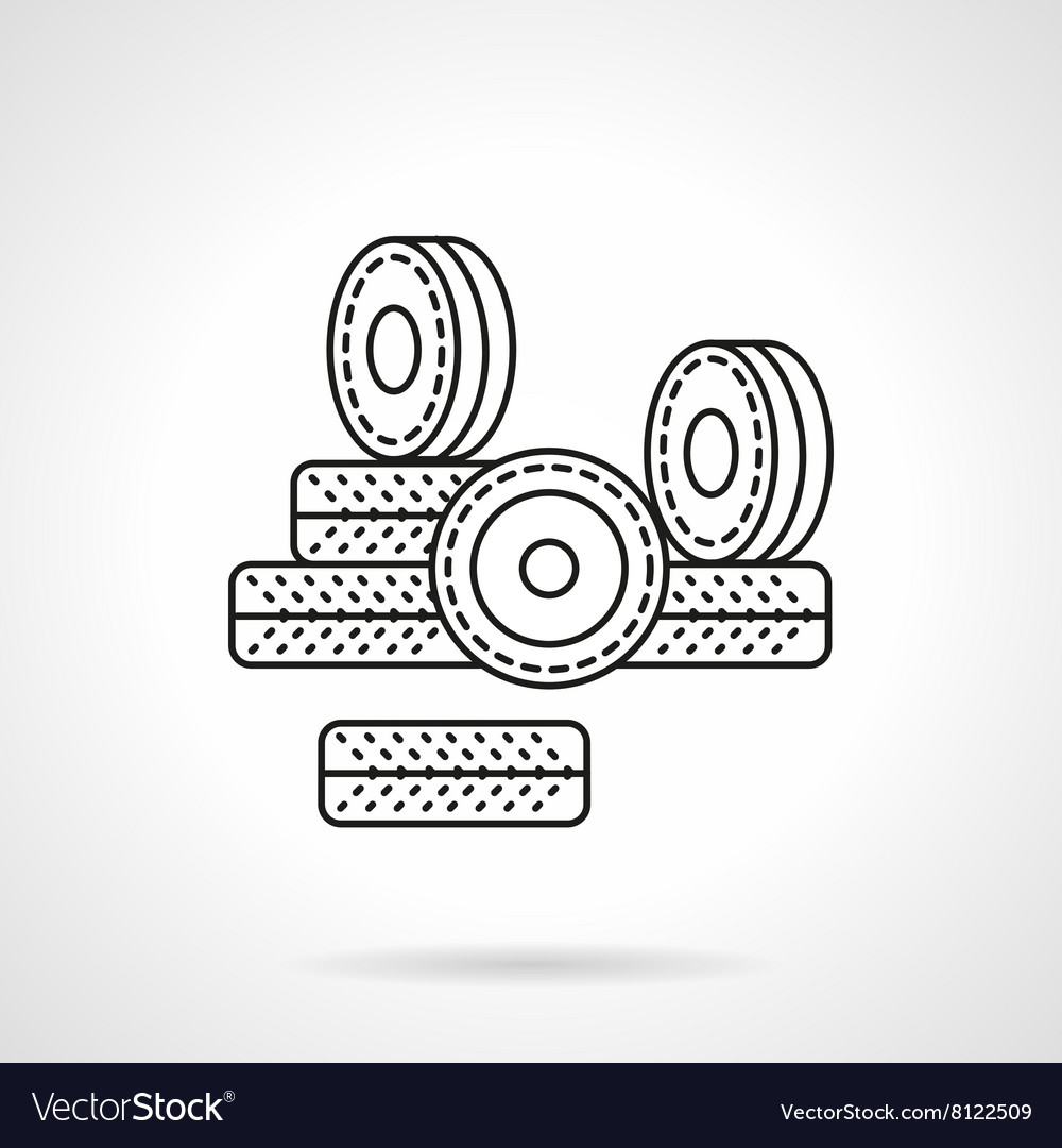 Wheels for rollers flat line icon vector image