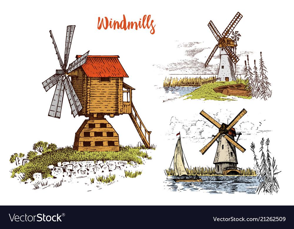 Windmill landscape in vintage retro hand drawn or