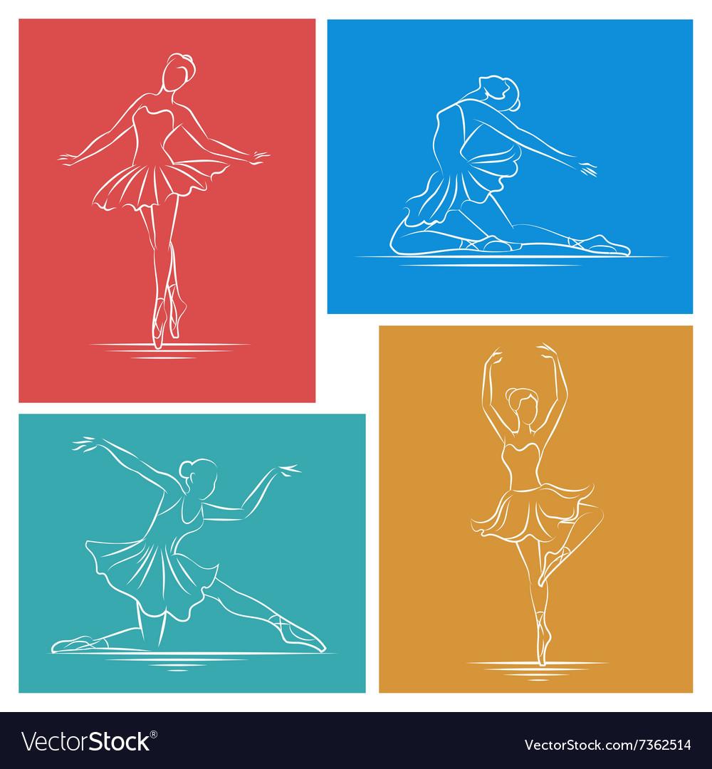 Ballerina hand drawn set vector image