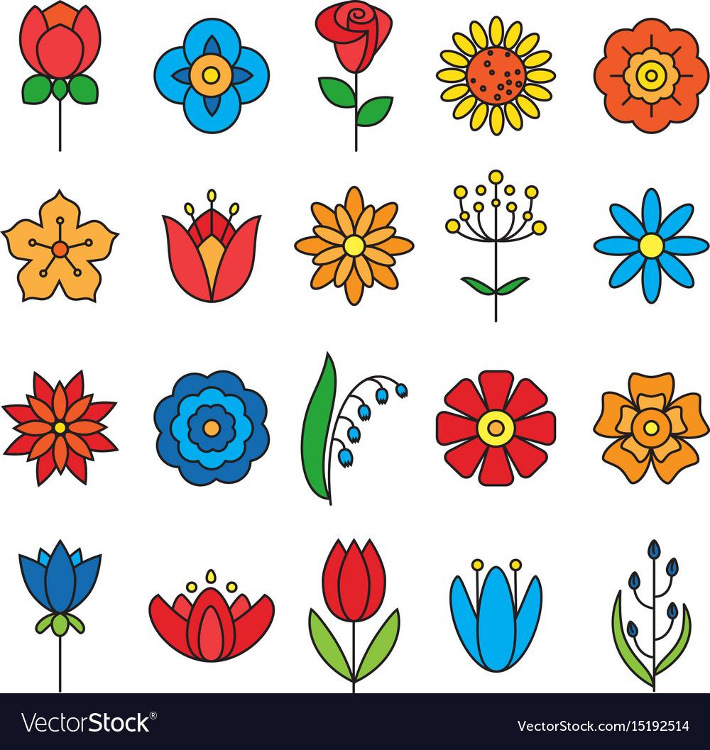 Flower icons set modern thin contour line vector image