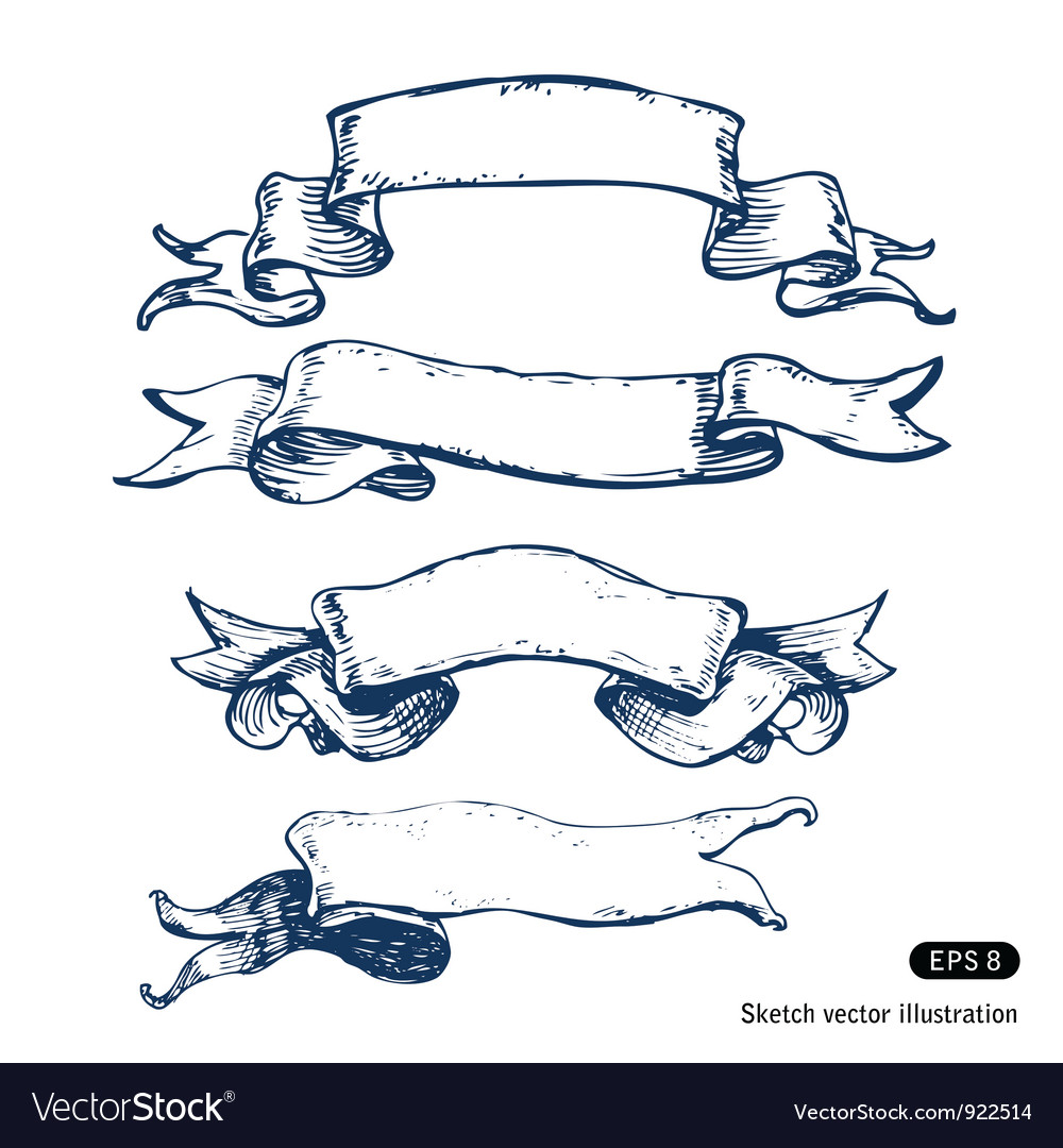 Hand drawn banners set vector image