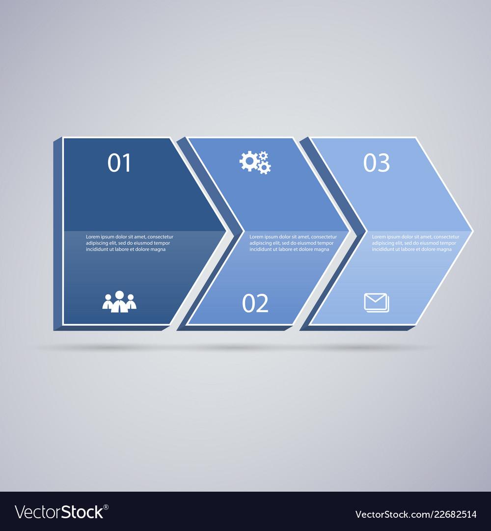 Infographic 3d blue arrows