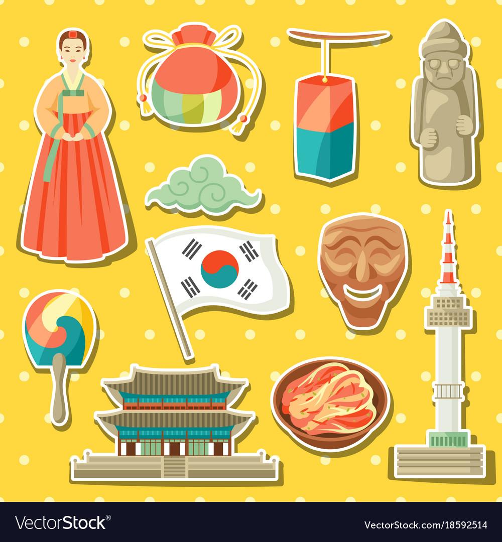 Korea icons set korean traditional sticker