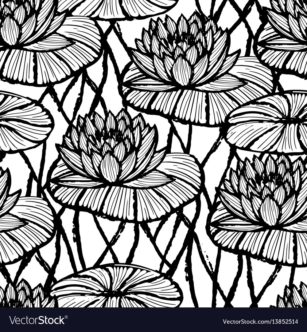 Lotus ink hand drawn seamless pattern