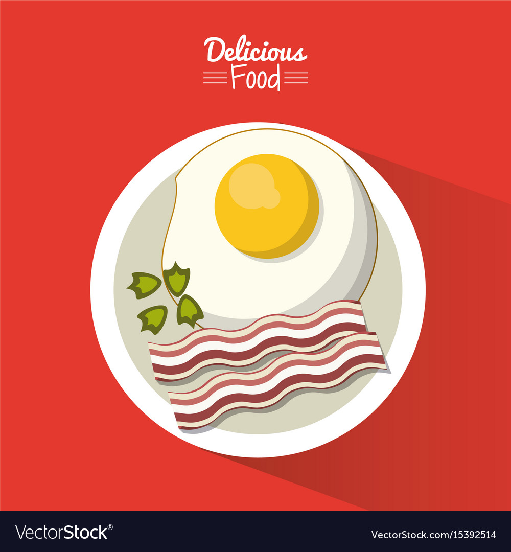 Poster delicious food in red background with dish
