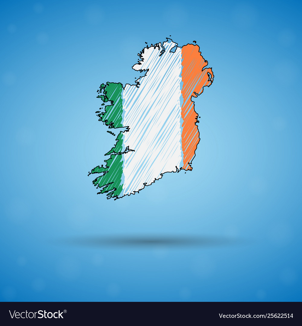 Sketch Map Of Ireland.Scribble Map Ireland Sketch Country Map For