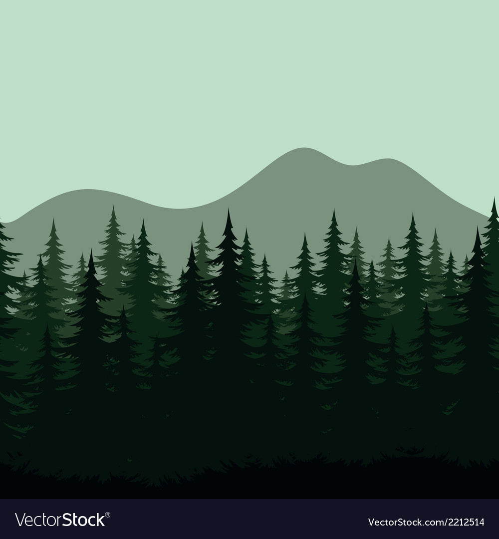 Seamless mountain landscape forest silhouettes