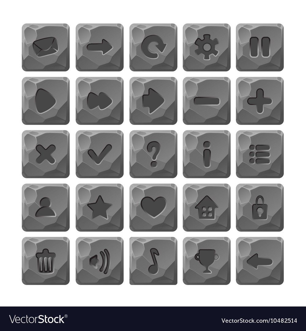 Set cartoon stone buttons with web icons