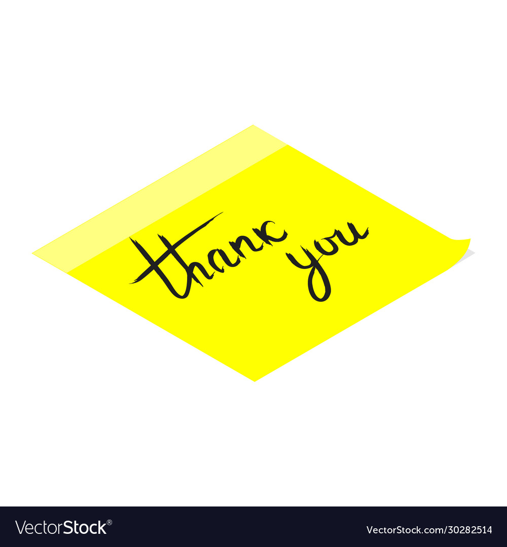 Thank you handwritten inscription on yellow