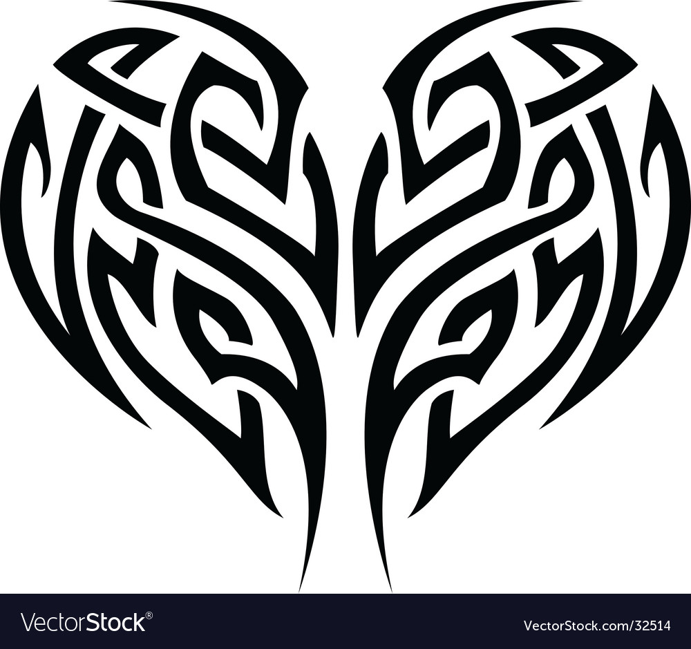 Stylized tattoo tribal heart. Keywords: