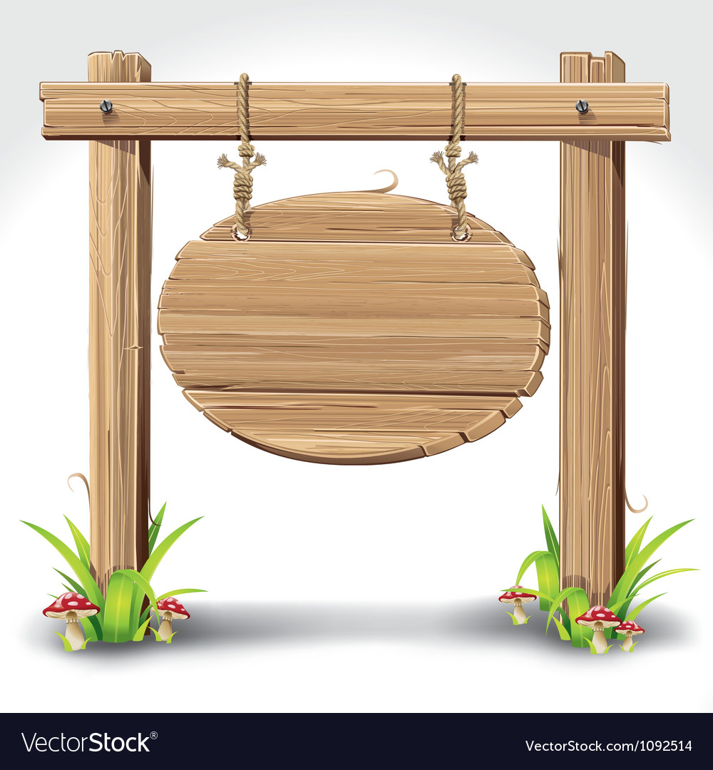 Wooden sign boarder hanging with rope vector image