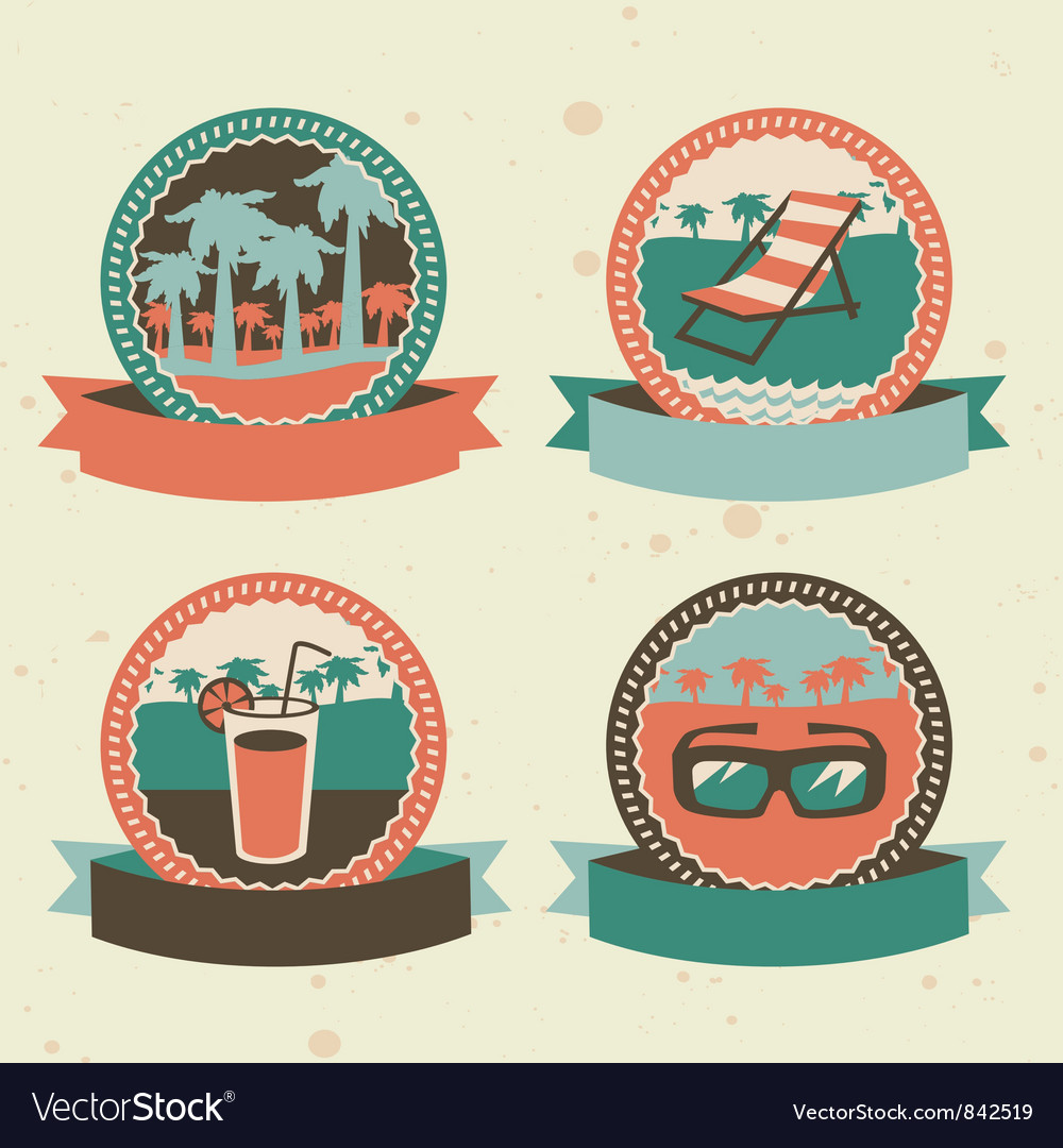 Abstract logo - retro labels with summer icons vector image
