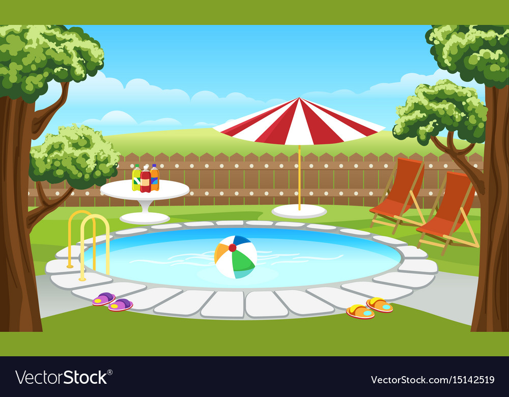 Backyard pool with fence and parasol