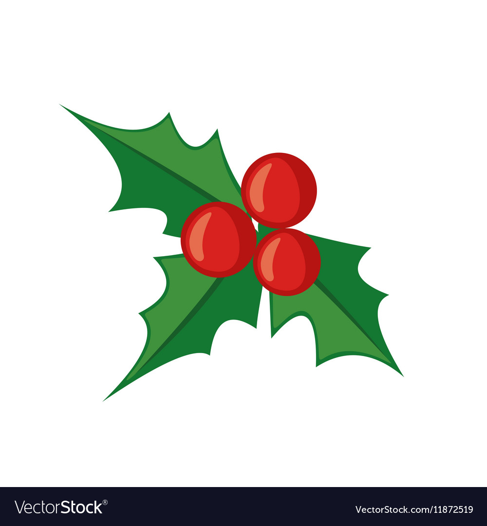 Christmas mistletoe icon in flat style Royalty Free Vector
