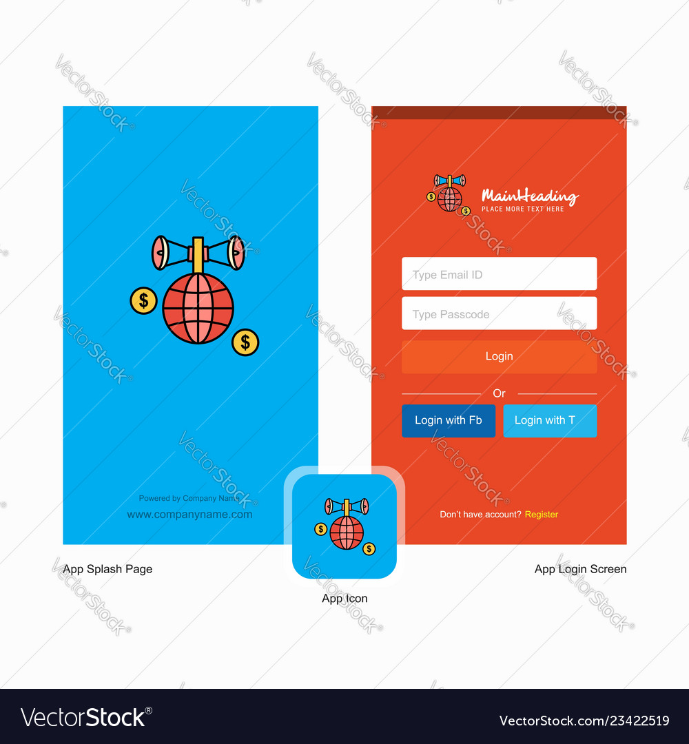 Company globe splash screen and login page design vector image on  VectorStock