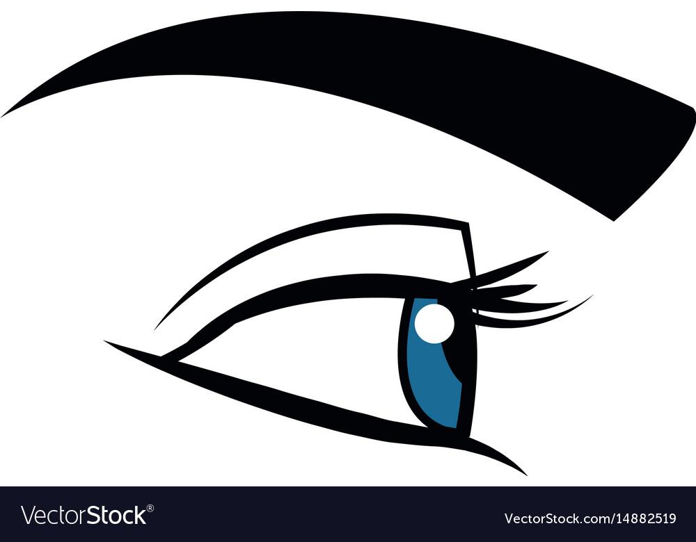 Cute female eye look vision design