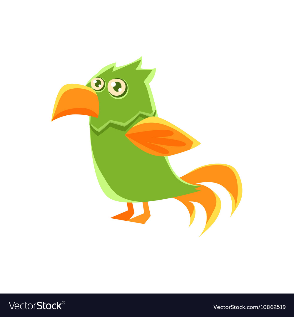 Green Parrot Toy Exotic Animal Drawing vector image