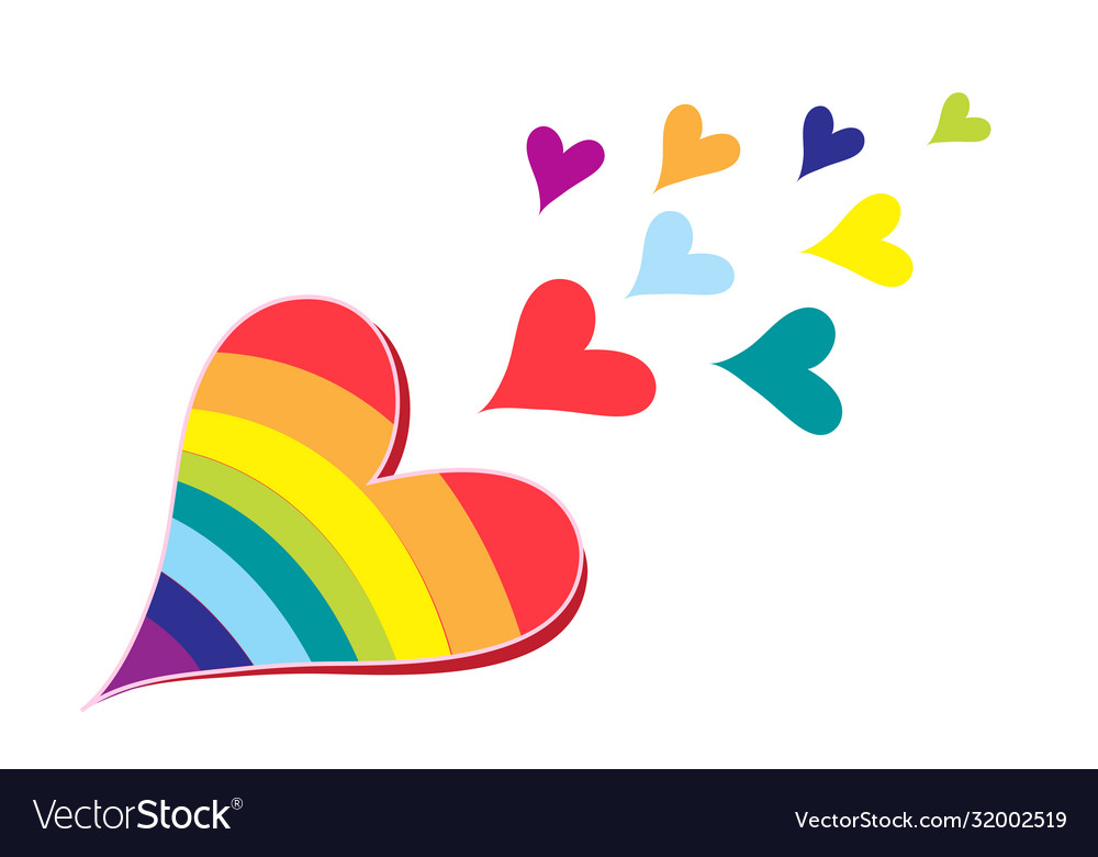 Hearts in rainbow colors