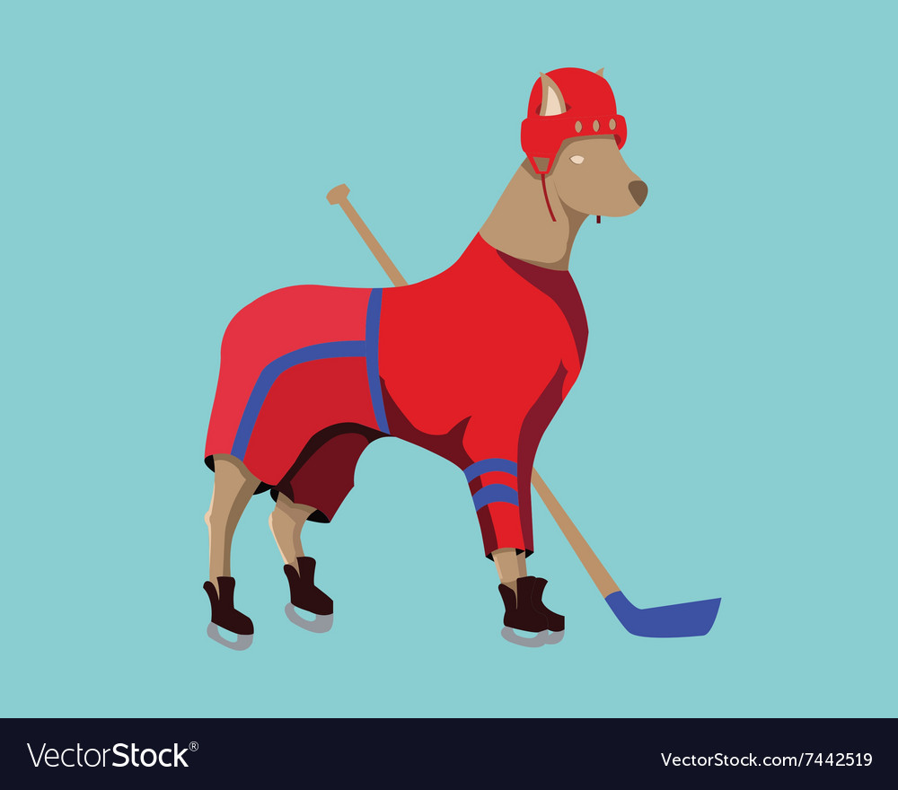 Hockey Dog Mascot in Red Sportswear