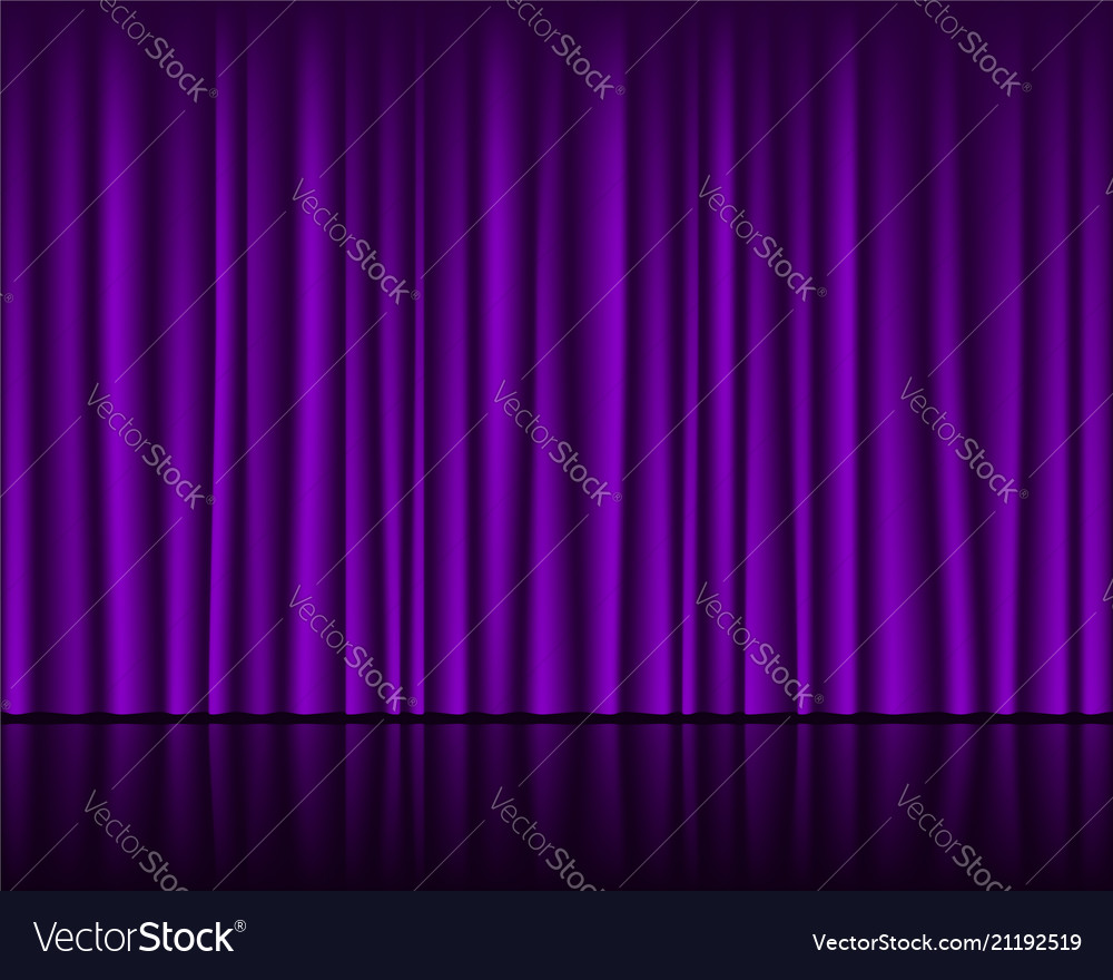 Magic stage with purple curtain seamless template vector image