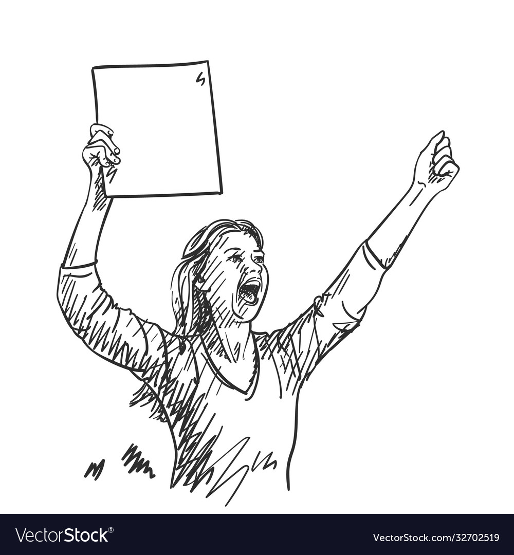 Protest woman with blank sign board is screaming