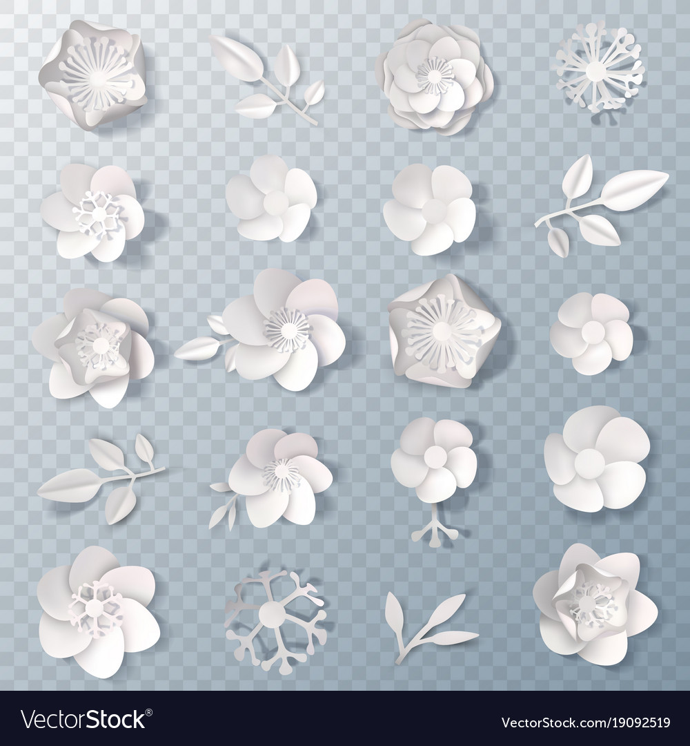 Realistic Paper Flowers Transparent Set Royalty Free Vector