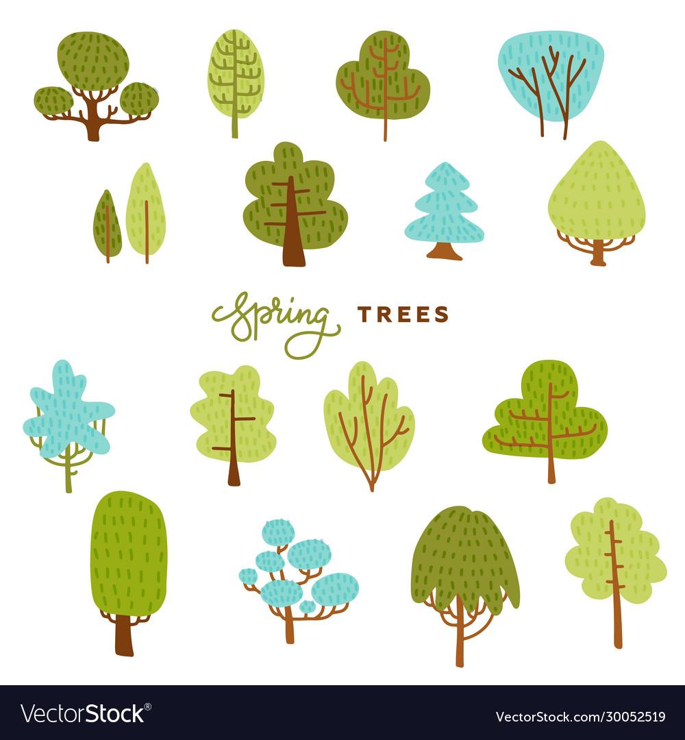 Set hand draw differend trees in scandinavian