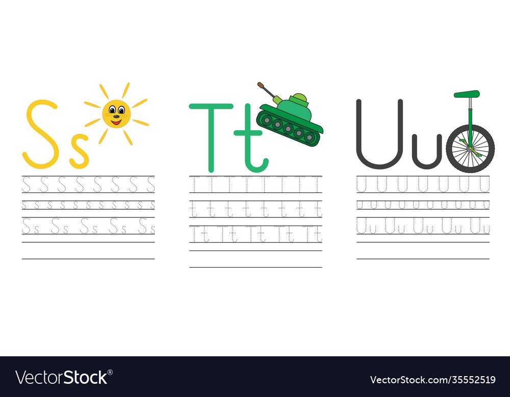 Writing practice letters s t u education for kids