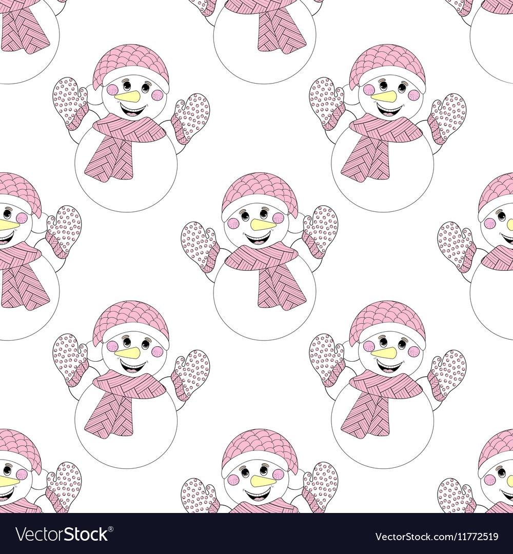 Zentangle snowman seamless pattern Hand drawn