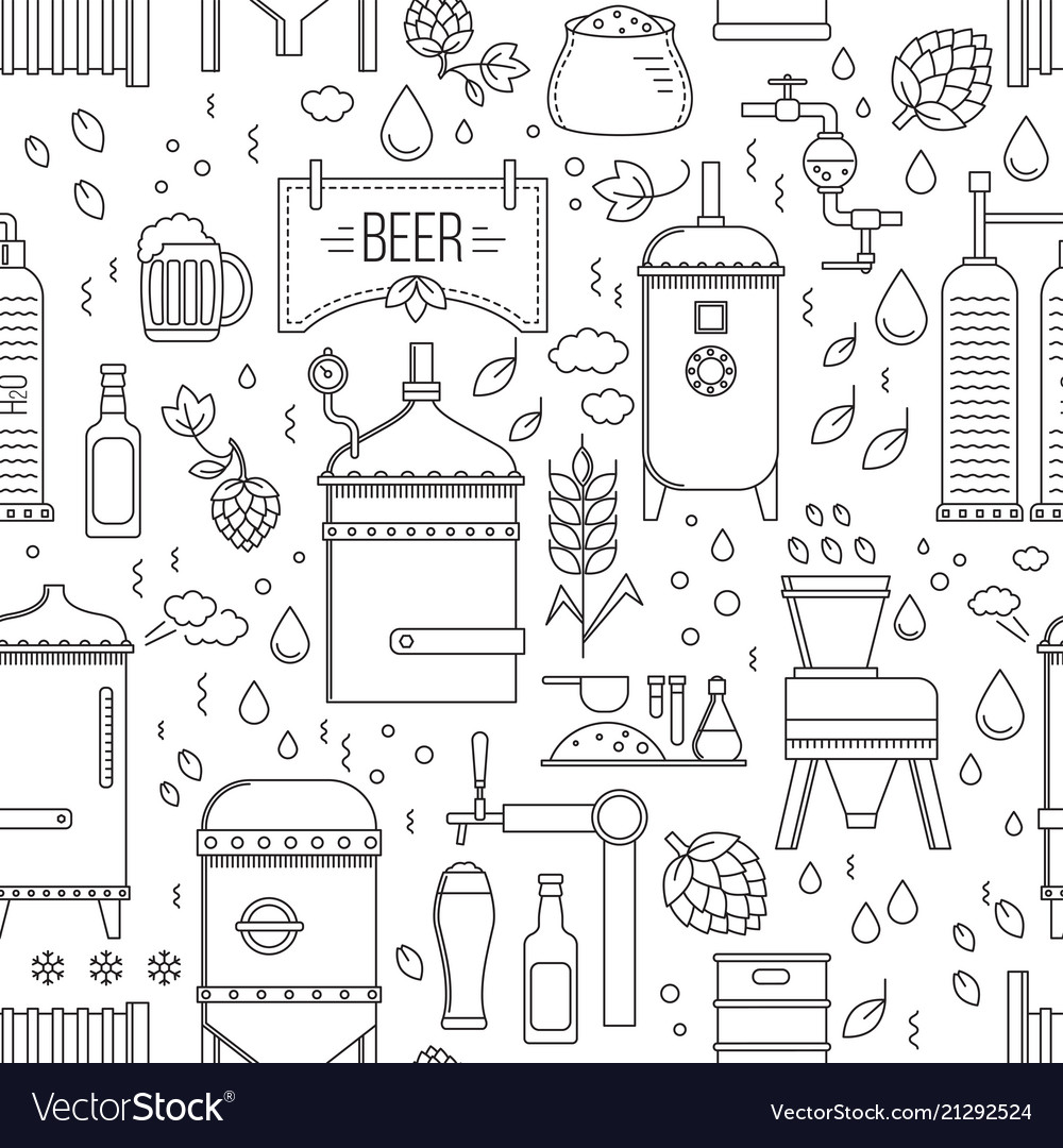 Beer production pattern seamless