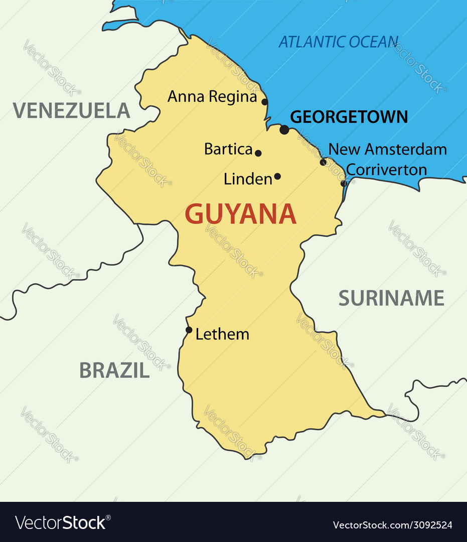Co-operative Republic of Guyana - map Royalty Free Vector