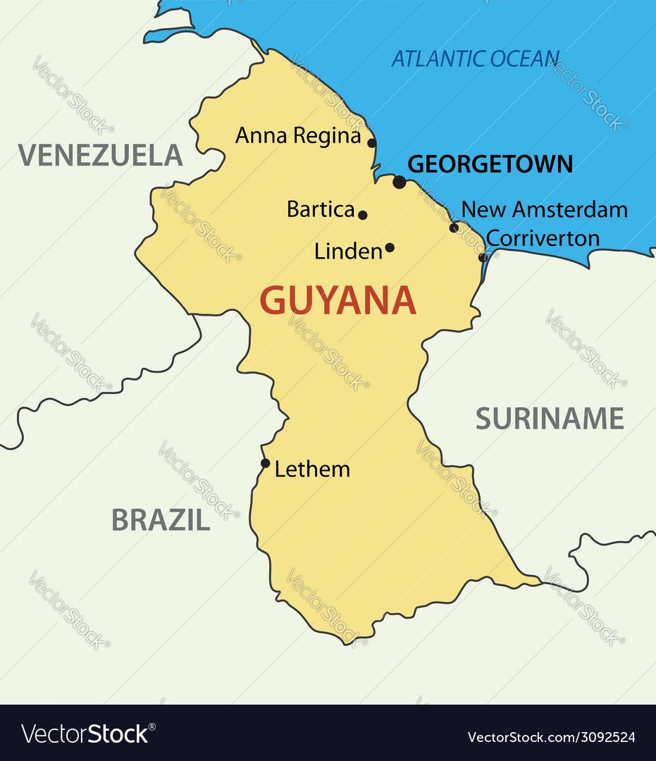 Co Operative Republic Of Guyana Map Royalty Free Vector
