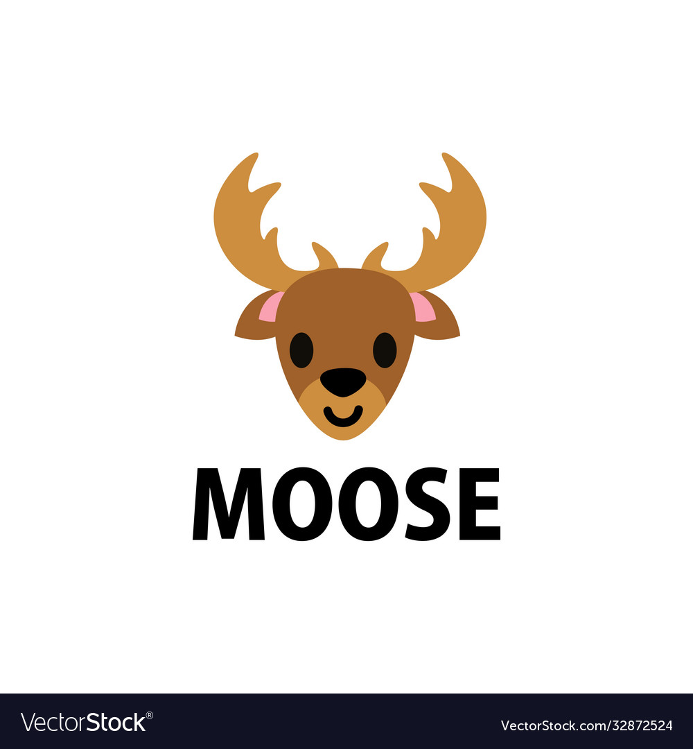 Cute moose flat logo icon